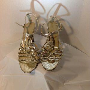 Tahari T-strap Gold Heels